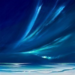 Blue Northern Lights IV by Jonathan Shaw -  sized 30x30 inches. Available from Whitewall Galleries